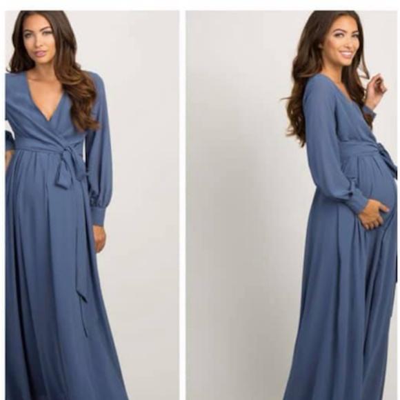 64e49a0873c Medium Blue Chiffon Long Sleeve Pleated Maxi Dress.  M 5c7d84499519963c3becb22b